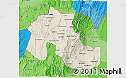Shaded Relief 3D Map of Jujuy, political shades outside