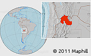 Gray Location Map of Jujuy, hill shading