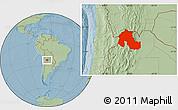 Savanna Style Location Map of Jujuy, hill shading