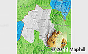 Physical Map of Jujuy, political shades outside