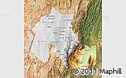 Physical Map of Jujuy, satellite outside