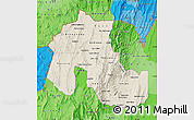Shaded Relief Map of Jujuy, political shades outside