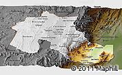 Physical Panoramic Map of Jujuy, darken