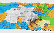 Physical Panoramic Map of Jujuy, political outside