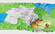 Physical Panoramic Map of Jujuy, political shades outside