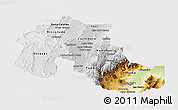 Physical Panoramic Map of Jujuy, single color outside