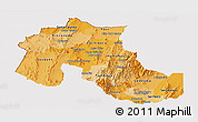 Political Shades Panoramic Map of Jujuy, cropped outside