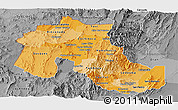 Political Shades Panoramic Map of Jujuy, desaturated