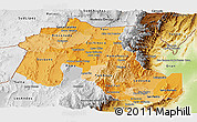 Political Shades Panoramic Map of Jujuy, physical outside