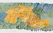 Political Shades Panoramic Map of Jujuy, semi-desaturated