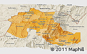 Political Shades Panoramic Map of Jujuy, shaded relief outside