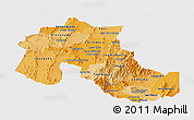 Political Shades Panoramic Map of Jujuy, single color outside