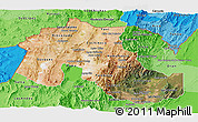 Satellite Panoramic Map of Jujuy, political shades outside