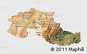 Satellite Panoramic Map of Jujuy, single color outside