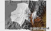 Physical 3D Map of Tumbaya, darken