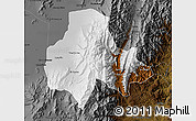 Physical Map of Tumbaya, darken