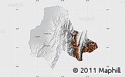 Physical Map of Tumbaya, single color outside