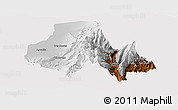 Physical Panoramic Map of Tumbaya, cropped outside