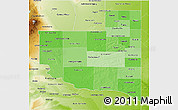 Political Shades 3D Map of La Pampa, physical outside