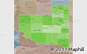 Political Shades 3D Map of La Pampa, semi-desaturated