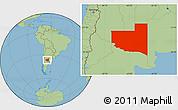 Savanna Style Location Map of La Pampa