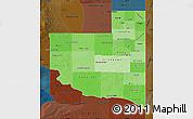Political Shades Map of La Pampa, darken