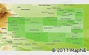 Political Shades Panoramic Map of La Pampa, physical outside