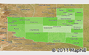 Political Shades Panoramic Map of La Pampa, satellite outside