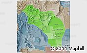 Political Shades 3D Map of La Rioja, semi-desaturated