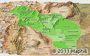 Political Shades Panoramic Map of La Rioja, satellite outside