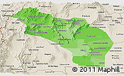 Political Shades Panoramic Map of La Rioja, shaded relief outside