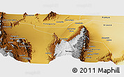 Physical Panoramic Map of San Blas de los Sauces