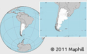 Blank Location Map of Argentina, gray outside
