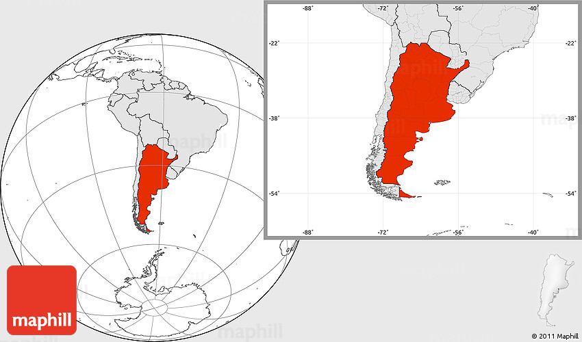 Blank Location Map Of Argentina Highlighted Continent - Argentina map location