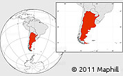 Blank Location Map of Argentina, highlighted continent