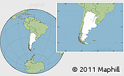 Blank Location Map of Argentina, savanna style outside