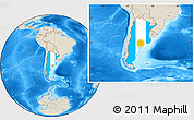 Flag Location Map of Argentina, shaded relief outside