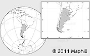 Gray Location Map of Argentina, blank outside