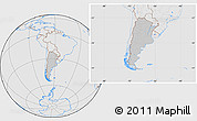 Gray Location Map of Argentina, lighten, desaturated