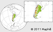 Physical Location Map of Argentina, blank outside