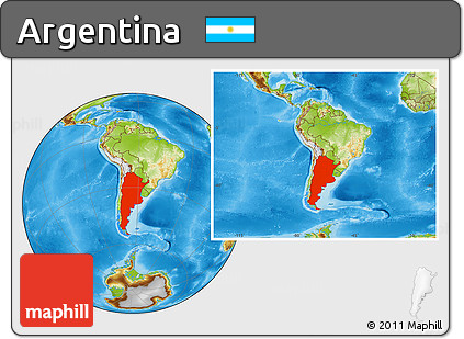 Physical Location Map of Argentina, within the entire continent
