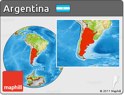 Physical Location Map of Argentina