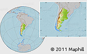 Physical Location Map of Argentina, gray outside, hill shading