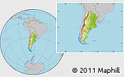 Physical Location Map of Argentina, gray outside