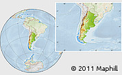 Physical Location Map of Argentina, lighten