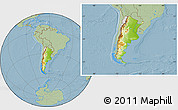 Physical Location Map of Argentina, savanna style outside, hill shading
