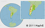 Physical Location Map of Argentina, savanna style outside