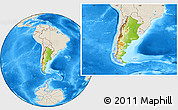 Physical Location Map of Argentina, shaded relief outside