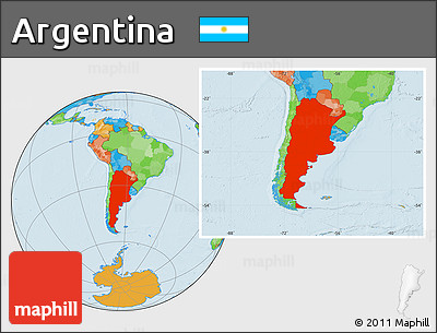 Political Location Map of Argentina