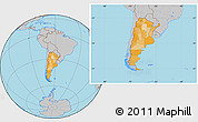 Political Location Map of Argentina, gray outside
